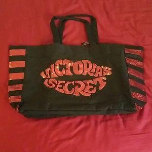 NWT Victoria's Secret Black +Red sequin tote bag